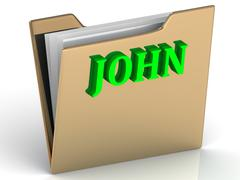 JOHN- Name and Family bright letters on gold folder on a white background Stock Illustration