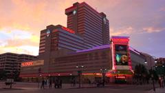 Illuminated casinos of Reno Nevada at night. - stock footage