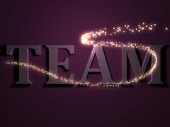 TEAM- 3d inscription with luminous line with spark on contrasting background Stock Illustration