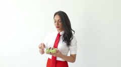 4K Modern Young  Business Woman Eating Salad Lunch Health food 3 Stock Footage