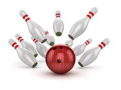 Bowling Ball Crashing Into the Pins - stock illustration