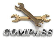 COMPASS- inscription of metal letters and 2 keys on white background - stock illustration