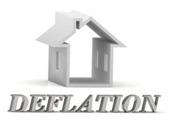 Stock Illustration of DEFLATION- inscription of silver letters and white house on white background