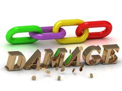 DAMAGE- inscription of bright letters and color chain on white background - stock illustration