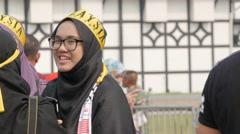 Veiled woman at independence day,Kuala Lumpur,Malaysia Stock Footage