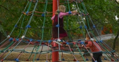 Boys And Girls Children Kids on a Rope Stairs Children at Playground Kids are Stock Footage