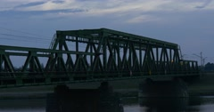 Railway Bridge Across The River Train Moves On The Bridge Railroad Contact Stock Footage