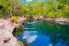 BAY OF PIGS, CUBA - SEPTEMBER 9, 2015:  Tourist attraction for swimming in Cueva - stock photo