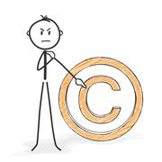 Stick Figure Cartoon - Stickman Shows Copyright Sign - Icon. - stock illustration