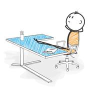 Stick Figure Cartoon - Stickman is Looking for New Pose Ideas in his Office. - stock illustration