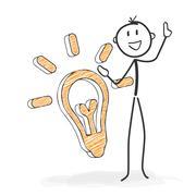 Stick Figure Cartoon - Stickman Has an Idea. Stock Illustration