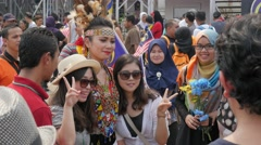 Photo session with beautiful dresses lady,Kuala Lumpur,Malaysia - stock footage