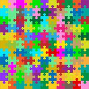 Different Colored 121 Puzzle Pieces - JigSaw - stock illustration