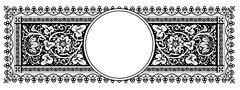 Flourish Vector Panorama Banner Design with Ornamental Frame - Vintage Design - stock illustration