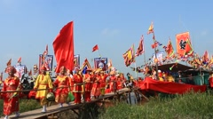 Performances boat in traditional festivals in Asia Stock Footage