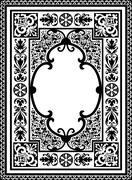 Vintage Vector Book Cover Frame with Flourish Design Elements - Black and Whi Stock Illustration