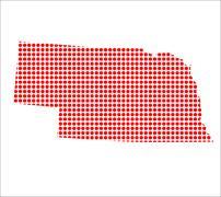 Red Dot Map of Nebraska - stock illustration