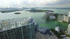 Miami Beach building flyover Stock Footage