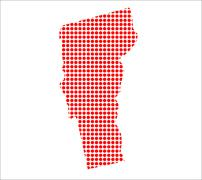 Red Dot Map of Vermont - stock illustration