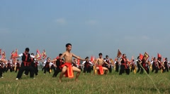 Performing martial arts in traditional festivals,Asia Stock Footage