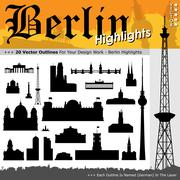 20 Berlin Highlights - Black Silhouettes with Real Size Proportions Piirros