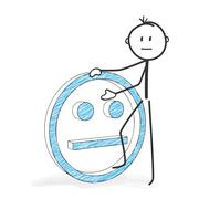 Stick Figure Cartoon - Stickman with a Neutral Smiley Icon. - stock illustration