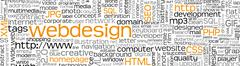 Stock Illustration of Webdesign Keyword Tag Cloud Panorama - Word Cloud - Vector Background Banner