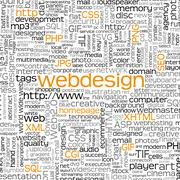 Webdesign Keyword Tag Cloud - Word Cloud - Vector Background Stock Illustration