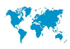 World Map Vector with Fresh Blue Continents on White Background - Planet Eart - stock illustration