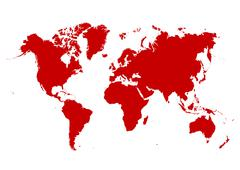 Map of The World with Red Continents and White Background - Vector Illustrati - stock illustration