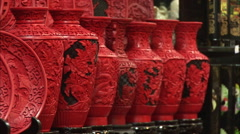 Red & black Chinese lacquerware crafts Stock Footage