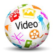White 3D Sphere with Video Icons and Text Label Stock Illustration