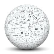 White 3D Sphere - Ball with Math Symbol Texture Piirros