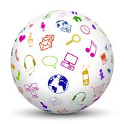 White Sphere with Mapped Multimedia Icon Symbols Stock Illustration