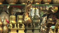 Bronze Chinese lion statues, China crafts Stock Footage