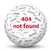 White 3D Sphere with Website Error Message - 404 Not Found Stock Illustration
