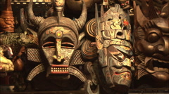 Chinese metal masks, Beijing craft market Stock Footage