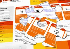 Web Design Template with Blanked Out Puzzle Piece. Stock Illustration