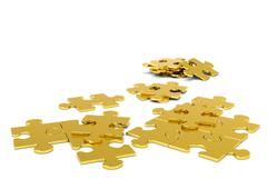 Stock Illustration of Golden 3D Puzzle Pieces - JigSaw
