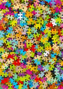Colored Puzzle Pieces Heap - JigSaw - stock illustration
