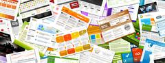 Website - Colorful Webdesign Templates Panorama - Banner - stock illustration