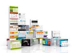 Modern Webdesign Templates - Mapped on 3D Aluminum Boxes. Stock Illustration