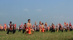 Performing martial arts in traditional festivals, Asia Stock Footage