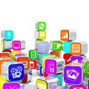 Arranged and Stacked 3D Multimedia Icon Alu Boxes. Stock Illustration