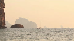 Boats Phi Phi Islands Sunrise Thailand Stock Footage