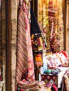 Textiles in the bazaar on Istanbul Stock Photos