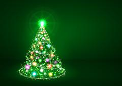 Abstract Twinkling Bright Colourful Christmas Fir Tree on Dark Green Backgrou Stock Illustration