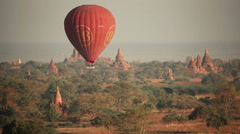 Air Balloons Ancient Buddhist Temples Stock Footage