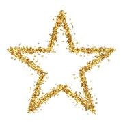 Star Shaped Golden Confetti Stars on White Background - stock illustration