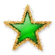 Smaragd Green Coloured Gemstone Star with Golden Starlet Border - stock illustration